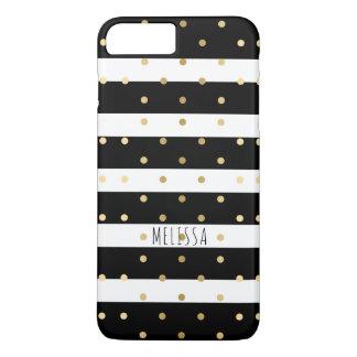 Capa iPhone 8 Plus/7 Plus Bolinhas modernas do ouro & listras pretas
