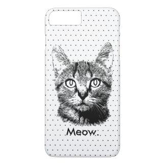 Capa iPhone 8 Plus/7 Plus Bolinhas tiradas do Meow do gatinho do gato mão