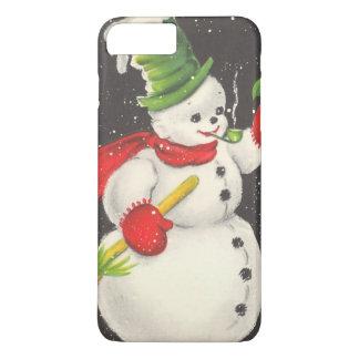Capa iPhone 8 Plus/7 Plus Boneco de neve do natal vintage