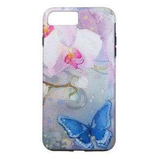 Capa iPhone 8 Plus/7 Plus Borboleta branca do azul da lavanda da aguarela