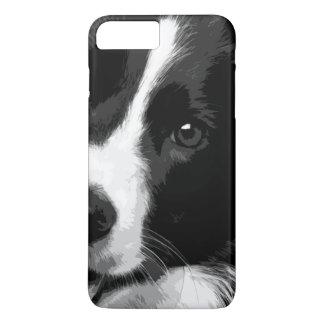 Capa iPhone 8 Plus/7 Plus Border collie preto e branco