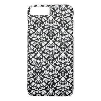 Capa iPhone 8 Plus/7 Plus Branco da cor damasco do Flourish no preto