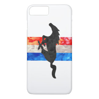 Capa iPhone 8 Plus/7 Plus Branco do mustang do fogo & azul vermelhos
