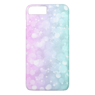Capa iPhone 8 Plus/7 Plus Brilho brandamente cor-de-rosa & verde do falso de