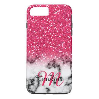 Capa iPhone 8 Plus/7 Plus Brilho cor-de-rosa, mármore com nome e monograma