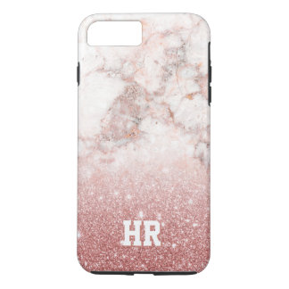 Capa iPhone 8 Plus/7 Plus Brilho cor-de-rosa Ombre de mármore branco do ouro