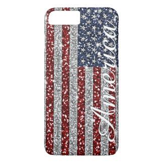 Capa iPhone 8 Plus/7 Plus Brilho de brilho do falso da bandeira na moda