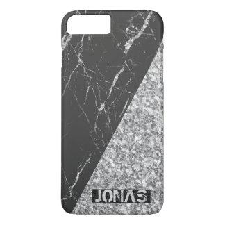 Capa iPhone 8 Plus/7 Plus Brilho de prata Monogrammed e mármore preto