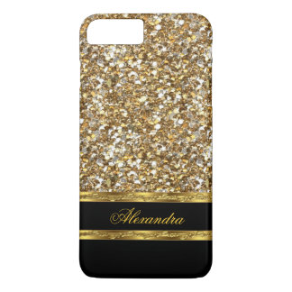 Capa iPhone 8 Plus/7 Plus Brilho elegante do preto e do ouro