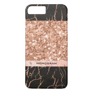 Capa iPhone 8 Plus/7 Plus Brilho geométrico do Rosa-Ouro & teste padrão de