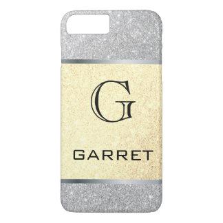 Capa iPhone 8 Plus/7 Plus Brilho k clássico da prata do ouro do monograma