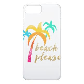 """Capa iPhone 8 Plus/7 Plus brilho """"praia do ouro por favor"""" com palmas"""