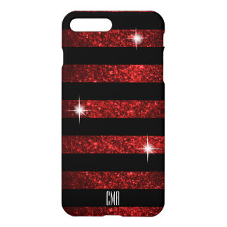 Capa iPhone 8 Plus/7 Plus Brilho vermelho escuro do falso & monograma das