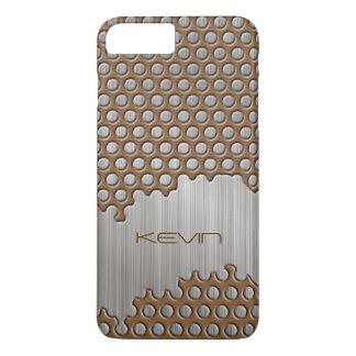 Capa iPhone 8 Plus/7 Plus Brown metálico & monograma de alumínio escovado
