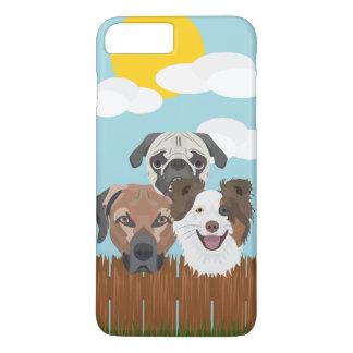 Capa iPhone 8 Plus/7 Plus Cães afortunados da ilustração em uma cerca de