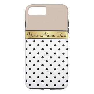 Capa iPhone 8 Plus/7 Plus Café feito sob encomenda PolkaDots preto branco do