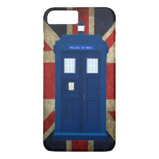 Capa iPhone 8 Plus/7 Plus Caixa de chamada azul da polícia com bandeira de