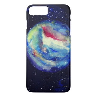 Capa iPhone 8 Plus/7 Plus Caixa do planeta, arte do cosmos da aguarela