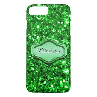Capa iPhone 8 Plus/7 Plus Caixa Sparkly verde simulada glamoroso do brilho