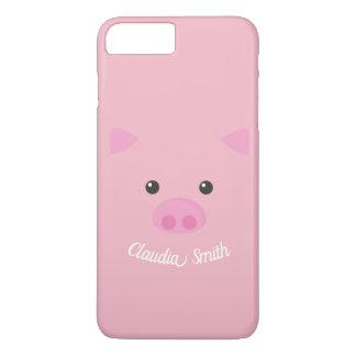 Capa iPhone 8 Plus/7 Plus Cara leitão cor-de-rosa