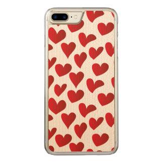 Capa iPhone 8 Plus/ 7 Plus Carved Amor vermelho pintado teste padrão do coração da