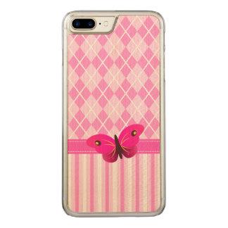 Capa iPhone 8 Plus/ 7 Plus Carved Argyle cor-de-rosa e borboleta de madeira do teste
