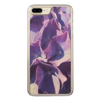 Capa iPhone 8 Plus/ 7 Plus Carved As flores azuis do Hydrangea fecham-se acima da