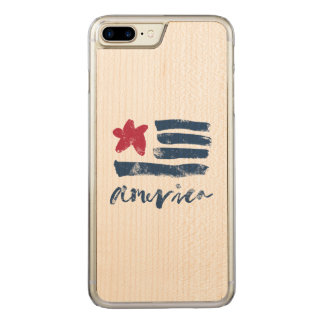 Capa iPhone 8 Plus/ 7 Plus Carved Bandeira americana Paintstrokes