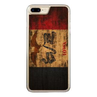 Capa iPhone 8 Plus/ 7 Plus Carved Bandeira do estado do Grunge do vintage de Iowa