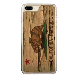 Capa iPhone 8 Plus/ 7 Plus Carved Bandeira do olhar de madeira da casca do vintage