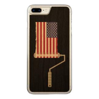 Capa iPhone 8 Plus/ 7 Plus Carved Bandeira dos Estados Unidos do rolo de pintura da