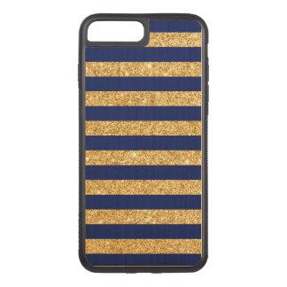 Capa iPhone 8 Plus/ 7 Plus Carved Brilho elegante do ouro do falso e teste padrão da