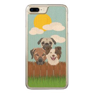 Capa iPhone 8 Plus/ 7 Plus Carved Cães afortunados da ilustração em uma cerca de