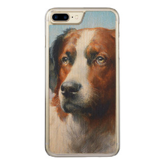 Capa iPhone 8 Plus/ 7 Plus Carved Cão de St Bernard do vintage