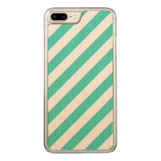 Capa iPhone 8 Plus/ 7 Plus Carved Cerceta e teste padrão diagonal branco das listras