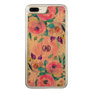 Capa iPhone 8 Plus/ 7 Plus Carved Colagem colorida GR4 das flores das aguarelas