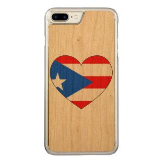 Capa iPhone 8 Plus/ 7 Plus Carved Coração da bandeira de Puerto Rico