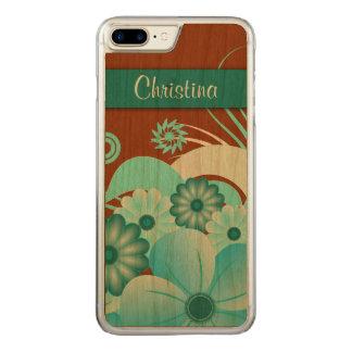 Capa iPhone 8 Plus/ 7 Plus Carved De madeira cinzelado do Aqua hibiscus floral azul