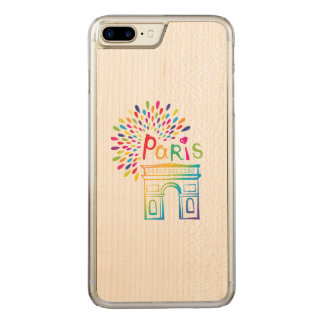 Capa iPhone 8 Plus/ 7 Plus Carved Design de néon de Paris France | Arco do Triunfo |