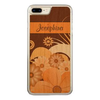 Capa iPhone 8 Plus/ 7 Plus Carved Dobra Brown do marfim e madeira floral alaranjada