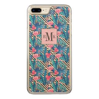 Capa iPhone 8 Plus/ 7 Plus Carved Flamingo & palmas no teste padrão geométrico