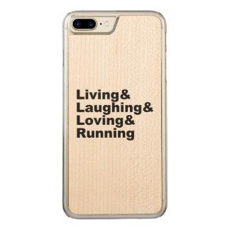Capa iPhone 8 Plus/ 7 Plus Carved Living&Laughing&Loving&RUNNING (preto)