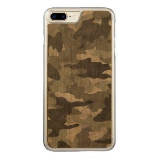 Capa iPhone 8 Plus/ 7 Plus Carved Madeira preta e cinzenta do Grunge de Camo da