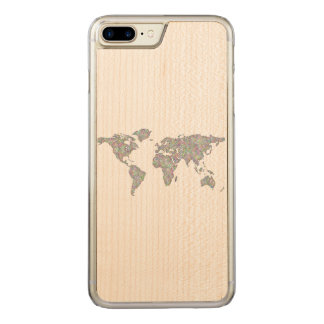 Capa iPhone 8 Plus/ 7 Plus Carved Mapa do mundo