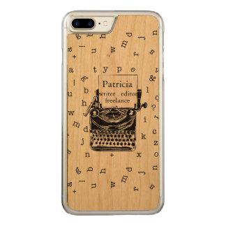 Capa iPhone 8 Plus/ 7 Plus Carved Máquina de escrever retro que mostra a grão de
