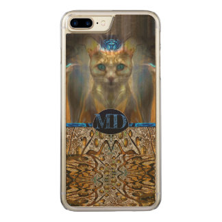 Capa iPhone 8 Plus/ 7 Plus Carved Monograma animal do impressão do gato real