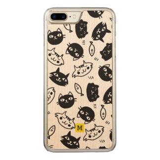 Capa iPhone 8 Plus/ 7 Plus Carved Monograma. Doodles bonitos. Gatos pretos & brancos