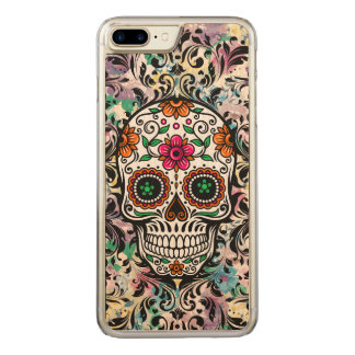 Capa iPhone 8 Plus/ 7 Plus Carved O preto floral colorido legal do crânio roda 4