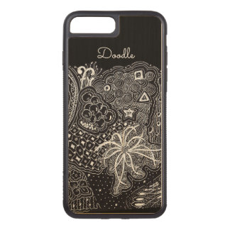 Capa iPhone 8 Plus/ 7 Plus Carved Personalize: Tinta branca na arte preta do Doodle