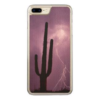 Capa iPhone 8 Plus/ 7 Plus Carved Relâmpago e cacto roxos, AZ